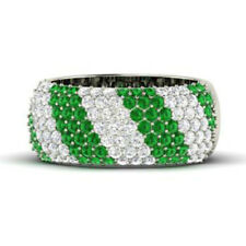 Solid 14K White Gold Diamond Wedding Ring 1.32Ct Emerald Eternity Bands Size 7