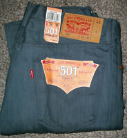 LEVI'S 501 Shrink To Fit Original Fit Unwashed Gray Denim Jeans NWT 34x36 $70