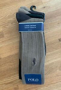 Polo Ralph Lauren Mens Soft Touch Dress Socks Brown Assorted Size 10-13 (3-Pack)