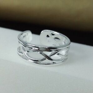 Silver Fully Adjustable Woven Toe Ring