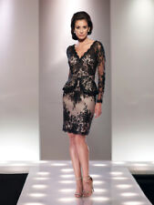 NEW Mon Cheri 114817 BLACK NUDE Full Lace SEQUIN DRESS Size 10 Social Occasion