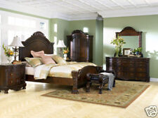 Old World Design Cherry Brown Marble 5 piece Bedroom Set w/ Queen Panel Bed IA09