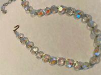 Genuine Glass AB Aurora Borealis Crystal Single Strand Bead Vintage Necklace