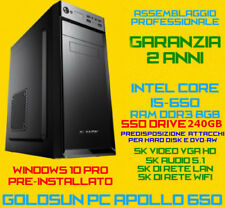 COMPUTER ASSEMBLATO PC FISSO DESKTOP INTEL Core i5-650 RAM 8GB SSD Drive 240GB