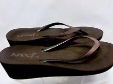 Reef Women Wedge Heel Slip On Summer Flip Flops Thong Brown Glitter Size 10 VGUC