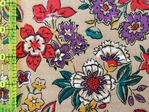 Lot 1345 Cranston, 5.33 Yards Painted Flowers on Tan, Looks Like Quilting Cotton