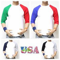 Men 3/4 Sleeve Baseball T-Shirt Raglan Sports Team Jersey Crew Casual Tee S-3X