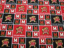 "UNIVERSITY of MARYLAND "" TERRAPINS  SQUARE DESIGN 1 YARD NEW LOGO 100% COTTON"