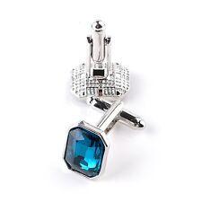 Light Blue Stone Jewel Silver Square Cufflinks Formal Suit UK Seller