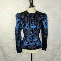 Vintage Scott McClintock Brocade Formal Jacket Sz XS Blue Black Taffeta Velvet