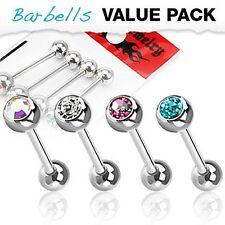 Zungenpiercing Barbell mit Zirkonia Kristall Kugel 4er Set