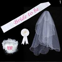 Bride To Be Rosette Badge Sash Garter Veil Hen Night Bachelorette Party D good*`