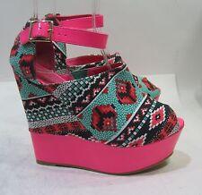 PRIVILEGED Rosa Neón 14cm Tacón Cuña 5.1cm Plataforma Punta Abierta Sexy Zapatos