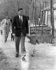 President John F. Kennedy walks with JFK Jr. at Camp David New 8x10 Photo