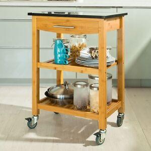 SoBuy® Servierwagen,Küchenwagen mit Granitarbeitsplatte, Küchenregal, FKW28-SCH