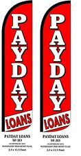 PAYDAY LOANS TWO(2) WINDLESS SWOOPER FEATHER FLAG KITS W/POLE & GROUND SPIKES