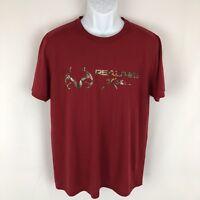 REALTREE Mens Graphic T-Shirt Large (42-44) Red Logo Short Sleeve Shirt