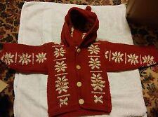 0015 Vintage Nantu Famia Childrens Hand Made Wool Size 1 Hoodie Inca Snowflakes?
