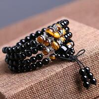 100% Natural New fashion 8mm obsidian round beads bracelet stretch long necklace