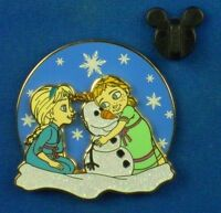 Young Elsa & Anna with Olaf Frozen Princesses Snowman Disney Pin #107140