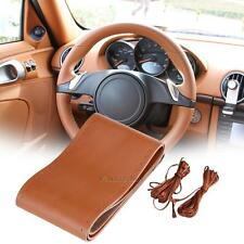 Car Brown Steering Wheel Cover DIY Artificial Leather Cowhide + Needles + Thread