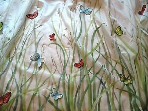 White Sheer Shower Curtain with Butterfly appliques