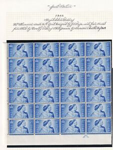 GB KGVI SG493 2½d Block of 24 Unmounted Mint MNH Cylinder 1