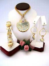 "Brighton ""AQUA SHORES"" Shell Necklace-Earring-Bracelet Set (MSR$198) NWT/Pouch"