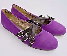 New Lands End Ballet Flats Girls 5 M Purple Suede Mary Jane Casual Slip On Shoes