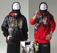 Men's Ecko Unltd Hip Hop Zip Hoodie Cotton Print Graffiti Sweater Sweatshirt Rap
