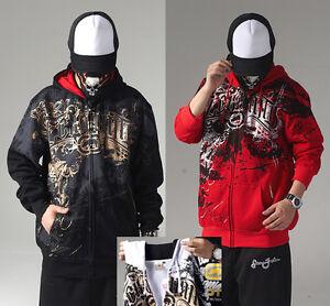 Men's Ecko Unltd Hip Hop Zip Hoodie Cotton Print Graffiti Sweater Sweatshirt Rap