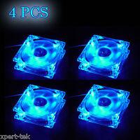 Lots 4 80mm 4-LED Light Neon Quite Clear PC Computer case Fan Cooling Blue Mod
