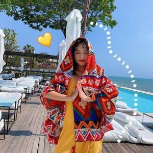 Summer Soft  Poly  Red ethnic wind travel scarf Sarong