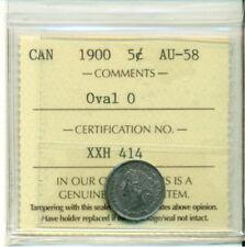 ICCS CAN 1900 5 cents AU-58 Oval 0 Certification No. XXH 414