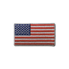 """Embroidered 2"""" American US Flag White Border Sew or Iron on Patch Biker Patch"""