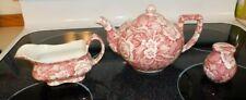 BURLEIGH Staffordshire England Victorian Chintz Teapot Pink W/ CREAMER +  EUC