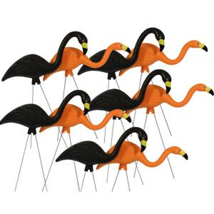 Spooky Flamingo Plastic Halloween Yard Decor Orange and Black 10-Pack