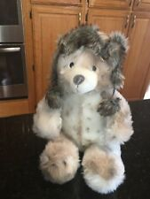 """Levtex Baby Teddy Bear Plush with Snow Leopard Faux Fur Bomber Winter Hat 15"""""""