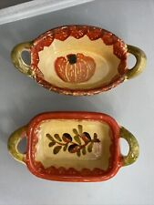 """Italica Ars Hand Painted Italian Pottery Oven Proof Mini Casserole Dishes 5"""""""