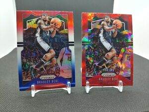 2019-20 Prizm Bradley Beal 2 Card Lot Red Cracked Ice Red White Blue Wizards
