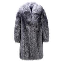 Men Faux Fur Coat Suit Collar Long Large Size Buckle Fashion Casual Jacket parka