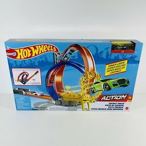 Hot Wheels Energy Track Playset Kids Children's With Car & Double Loop Fire Ring