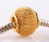 5pcs golden gauze hollow big hole spacer beads fit Charm European Bracelet AB940