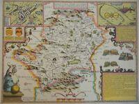OLD COPY OF JOHN SPEED MAP OF HERTFORDSHIRE TOWN PLAN