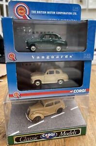 3 x CORGI VANGUARDS CLASSIC Austin A35 & Ford Popular model road cars 1:43rd