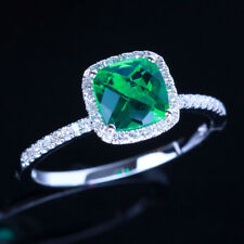 Cushion Cut 6mm Flawless Treated Emerald Diamonds 18K White Gold Engagement Ring