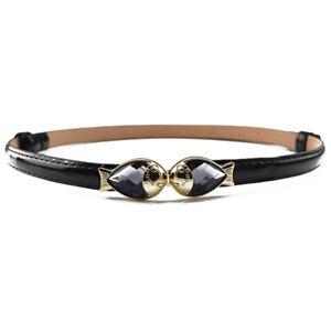 Women Metal Gold Fish Buckle Skinny Belt Faux Leather Adjustable Dress Waistband
