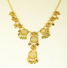 NEW 10K YELLOW GOLD FILIGREE DRIPPY DANGLE NECKLACE 14 to 16.75 INCHES LONG