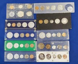 10 pc Lot US Silver Proof sets 1956/57/58/59/61/4-62/63 plastic holders L10429