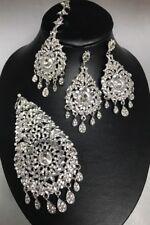 Silver jhumar passa tikka earrings bride hijab party Pakistani Bollywood Style